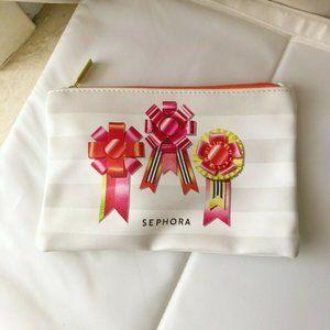 🌈4/$20 Sephora White Ribbon Striped Cosmetic Bag